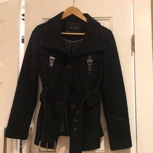 Black Zara belted coat